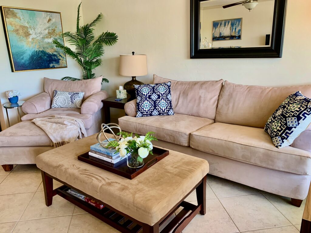 Unit 14 - Comfortable oversized sofa and love seat with ottomans