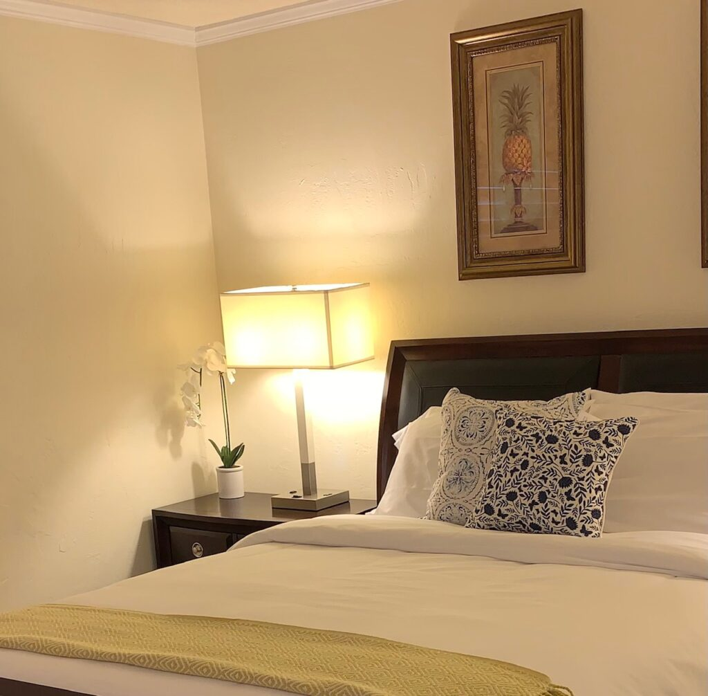 Unit 3 - Plush bedding with lamp with outlets